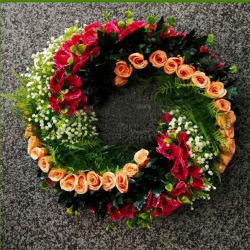 Hanging Frame Ring - Artificial Flower With Frame - For Indoor & Out Door Decoration - Multi Color