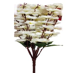 Height  24 Inch - Blossom Bunch X 9 Stick - AF- 503 - Leaf Bunch - White Color