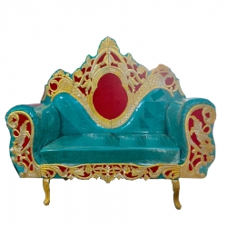 Sky Blue & Red Color - Regular - Couches - Sofa - Wedding Sofa - Maharaja Sofa - Wedding Couches - Made Of Wooden & Metal.