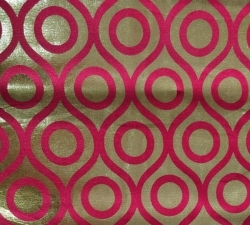 Foil Work Print on Brite Lycra - 24 Guage - 54 Inch Panna - Heavy Quality Cloth Material Color Pink and golden color