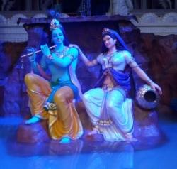 Fancy Fiber Statue Radha Krishna - Indoor & Outdoor - Made of Fiber