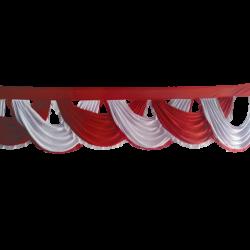 24 FT - Designer Zalar - Scallop Zalar - Chain Scallop Zalar - Kantha - Jhalar - Made Of Lycra - Red & White Colour