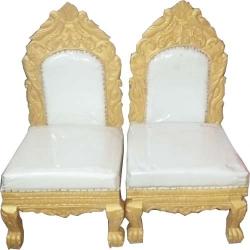 White Color - Mandap Chair - Wedding Chair - Varmala Chair Set - Chair Set - Made Of Wooden & Metal - 1 Pair ( 2 Chair )