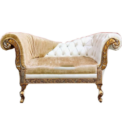 Golden & White Color - Heavy Premium Metal Jaipur Couches - Sofa - Wedding Sofa - Wedding Couches - Made Of High Quality Metal & Wooden