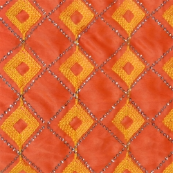 26 Gauge - Designer Bright Lycra - Embroidery Work - 52 Inch Panna -  Threadwork & Sequence Work - Orange & Yellow Diamond