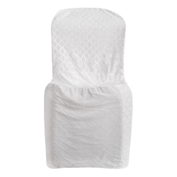 Emboss Velvet Cloth Chair Cover - Without Handle - For Plastic Chair - Armless - White