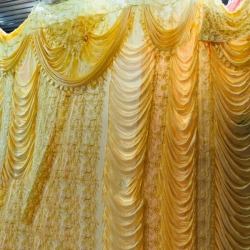 10 FT X 15 FT - Designer Curtain - Parda - Stage Parda - Wedding Curtain - Mandap Parda - Back Ground Curtain - Side Curtain - Made Brite Lycra - Yellow Color