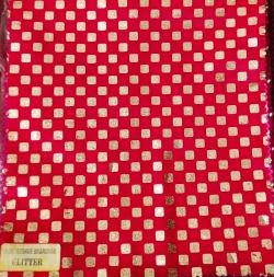 8MM Square Bharchak - 24 Gauge Brite Lycra - 54 Inch Panna - Square Big Tikli Work - Red Color