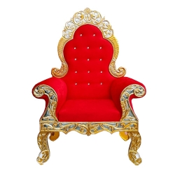 Red  Color - Wedding Throne Chair - Bridal Shower Chair - Maharaja Sofa Chair- Wedding Couches - Made Of Wooden Foam & Fabric