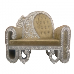 Golden & Silver Color - Heavy Premium Metal Jaipur Couches - Sofa - Wedding Sofa - Wedding Couches - Made Of High Quality Metal & Wooden