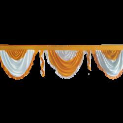 24 FT - Designer Zalar - Scallop Zalar - Kantha - Jhalar - Made Of Lycra - Mango Gold & White Color