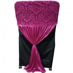 Velvet Flower Chair Cover Bow For Wedding Function - Pink Color