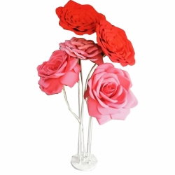 5 FT - Flowers Fancy Stand Artificial Flower - Pink Rose & White Stand.