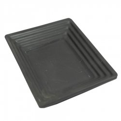 6 Inch X 7 Inch - Chat Plate - Snacks Plate - Made of Food Grade Acrylic - Square Shape - Black Color