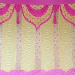 10 FT X 15 FT - Mandap Stage Parda - 26 Gauge Brite Lycra - Heavy Embroidery - Wall Parda For Wedding Function - Pink & Piech Colour