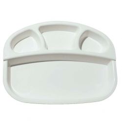 4 - Compartments Divided - Dinner Plate - Made From Regular Plastic White Color.