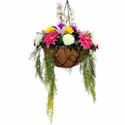 30 Inch X 18 Inch - Artificial Flower Hanging Basket - Flower Decoration - Multi Color