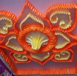 18 Ft X 18 Ft - Designer Mandap Ceiling Cloth -Shamiyana Ceiling - Taiwan Top - 26 Gauge Bright Lycra Cloth - Lemon Yellow + Catonic Orange + Embroidered Lycra