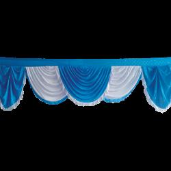 24 FT - Designer Zalar - Scallop Zalar - Kantha - Jhalar - Made Of Lycra With Tipki - Firozi Blue & White Color