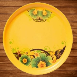 12 Inch Second Quality Dinner Plate - Made Of Food-Grade Regular Plastic Material - Round Shape - Printed Color