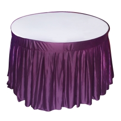 4 ft x 4 ft - Round Table Cover - Made of Premium Quality Lycra Cloth - Wine Lycra + White Top
