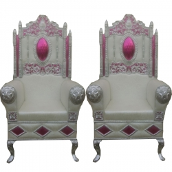 White Color - Heavy Premium Metal Jaipur Chair - Wedding Chair - Varmala Chair - Made of High Quality Metal & Wooden - 1 Pair ( 2 Chair )