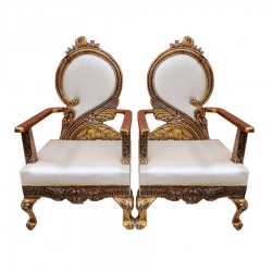 White Color - Heavy Metal Premium Jaipuri Chair - Wedding Chair - Chair Set - Made Of Metal & Wooden - 1 Pair ( 2 Chair )