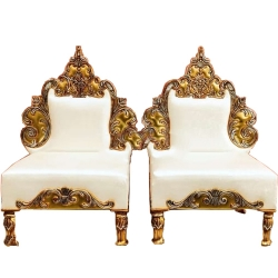 White Color - Heavy Premium Metal Jaipur Chair - Wedding Chair - Varmala Chair - Made Of High Quality Metal & Wooden - Single
