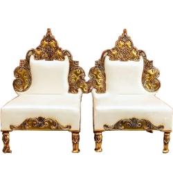 White Color - Heavy Premium Metal Jaipur Chair - Wedding Chair - Varmala Chair - Made Of High Quality Metal & Wooden - Single