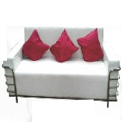 High Quality 3 Seater Sofa - Made Of Steel & Fome with out Pillow Cover - White Color.