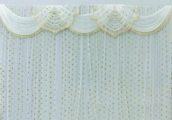 10 ft x 15 ft - Designer Curtain - Parda - Stage Parda - Wedding Curtain - Mandap Parda - Background Curtain - Side Curtain - Made of Galaxy cloth - White + Gold - Festoon