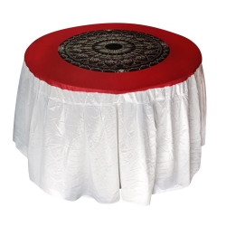 4 ft x 4 ft - Round Table Cover - Made of Premium Quality Crush Cloth - White & Red Color