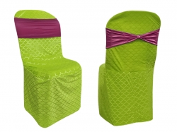 Emboss Velvet Cloth Chair Cover - Without Handle - For Plastic Chair - Armless - Parrot Green + Wine