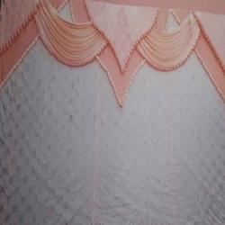 10 FT X 15 FT Parda - Curtain - Stage Parda - Wedding Curtain - Mandap Parda Made of 12 Kg Taiwan - Galaxy Top & 24 Gauge Brite Lycra Work - Orange & White Color