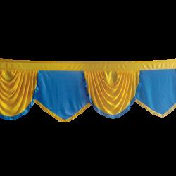 15 FT - Designer Zalar - Scallop Zalar - Kantha - Jhalar - Made of Lycra - Firozi Blue & Yellow Colour