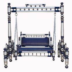 Sankheda Jhula - Wooden Swing - Made Of Natural Saag Wood (Teak Wood) Silver & Blue Color