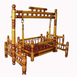 Sankheda - Wooden Jhula - Swing - Made Of Teak Wood - Golden & Red Color