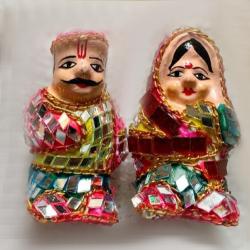 3 Inch - Rajasthani Gudda & Guddi - 2 Pair - Made Of Terracotta With Mirror Work