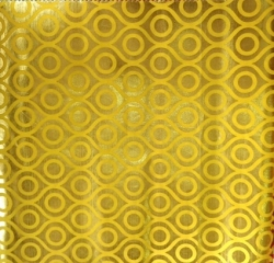Foil Work Print on Brite Lycra -24 Guage - 54 Inch Panna - Heavy Quality Cloth Material - Color Yellow and golden color