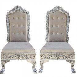 Silver Color - Heavy Premium Metal Jaipur Mandap Chair - Wedding Chair - Varmala Chair - Made of High Quality Metal & Wooden - 1 Pair ( 2 Chair )