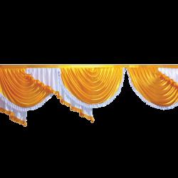 15 FT - Designer Zalar - Scallop Zalar - Chain Scallop Zalar - Kantha - Jhalar - Made of Lycra - Mango Gold & White Colour