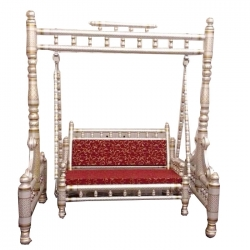 2 In 1 - Heavy Wooden Swing - Sankheda Jhula -  Palna White & Golden Color