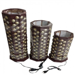 23 INCH - 18 INCH - 14 INCH - Round Lamp - Decorative Lanterns - Electronic Lanterns - Kandil - Made Of Wooden - Set of 3