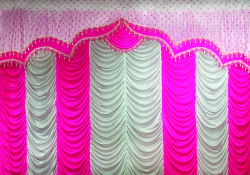 10 Ft X 18 Ft - Designer Curtain - Parda - Stage Parda - Wedding Curtain - Mandap Parda - Background Curtain - Side Curtain - Made Of Bright Lycra - Multi Color - Catonic Neon Pink + White - Festoon