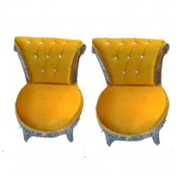 Orange Color - Udaipur -Heavy - Premium - Mandap Chair - Wedding Chair - Varmala Chair Set - Chair Set - Made of Wooden & Metal - 1 Pair ( 2 Chair )