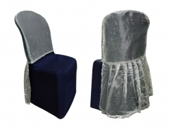 Cap Cloth Tissue & Lycra Chair Cover Without Handle - For Plastic Chair - Armless - Navy blue & Silver
