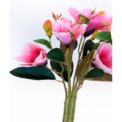 Height  19 Inch - Magnolia Flower Bunch -  AF-254 - Leaf Bunch - Pink Color