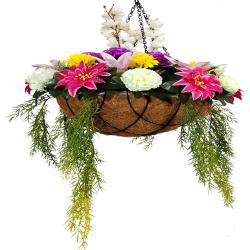 30 Inch - Artificial Flower - Hanging Basket - Flower Decoration - Multi Color