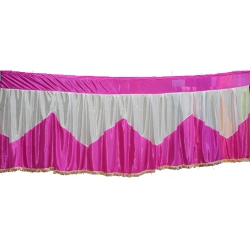 Table Cover Frill - Counter Jhalar - Made of Brite Lycra - Pink & White Color (Size Available in 10 Ft X 15 Ft X 30 Ft )