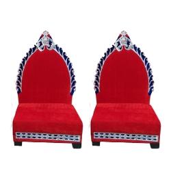 Red Color - Mandap Chair - Wedding Chair - Varmala Chair - Made Of High Quality Wooden & Matel- 1 Pair ( 2 Chair )